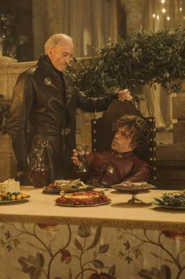 Charles Dance as Tywin Lannister and Peter Dinklage as Tyrion Lannister in &#8216;Game of Thrones,&#8217; Season 3, Episode 308, &#8216;Second Sons&#8217;