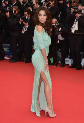 Eva Longoria shows some leg at the Premiere of 'Jimmy P. (Psychotherapy Of A Plains Indian)' at The 66th Annual Cannes Film Festivalon May 18, 2013 in Cannes, France