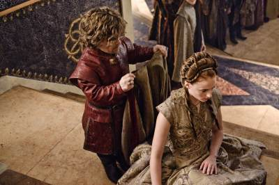 Tyrion Lannister (Peter Dinklage) puts the marriage cloak on Sansa Stark (Sophie Turner) in 'Game of Thrones' Season 3, Episode 308, 'Second Sons'