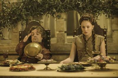 Tyrion Lannister (Peter Dinklage) and Sansa Stark (Sophie Turner) at their wedding banquet in 'Game of Thrones' Season 3, Episode 308, 'Second Sons'