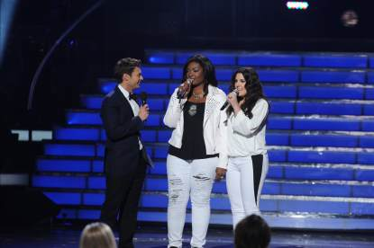 Candice Glover and Kree Harrison at the 'American Idol' Season 12 Grand Finale at the Nokia Theater L.A. Live, May 16, 2013