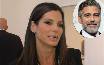 Sandra Bullock chats with Access Hollywood at the 'Out of Left Field' art show on May 23, 2013 in Los Angeles / inset: George Clooney