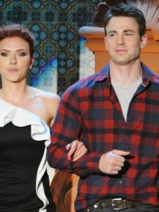 Scarlett Johansson and Chris Evans appear onstage during Spike TV's 5th annual 2011 'Guys Choice' Awards at Sony Pictures Studios on June 4, 2011 in Culver City, Calif.