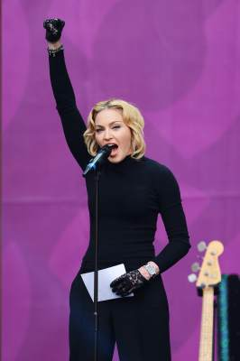 Madonna speaks on stage at the 'Chime For Change: The Sound Of Change Live' Concert at Twickenham Stadium on June 1, 2013 in London