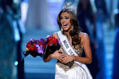 Erin Brady reacts after being crowned Miss USA during the 2013 Miss USA pageant at PH Live at Planet Hollywood Resort & Casino on June 16, 2013 in Las Vegas
