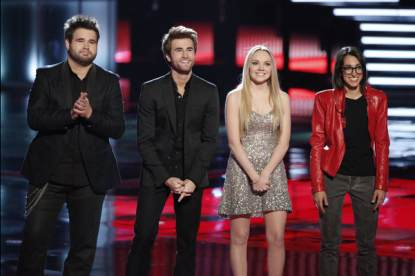 The Swon Brothers, Michelle Chamuel and Danielle Bradbery with Carson Daly on 'The Voice,' June 17, 2013
