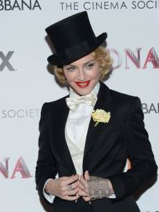 Madonna attends the Dolce & Gabbana and The Cinema Society screening of the Epix World premiere of 'Madonna: The MDNA Tour' at The Paris Theatre on June 18, 2013 in New York City