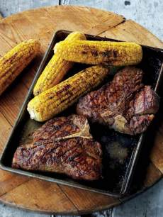 Grilled Chili-Rubbed T-Bone Steak & Corn On The Cob, courtesy of Curtis Stone
