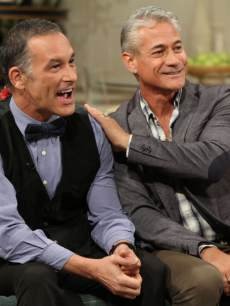 Greg Louganis and Johnny Chaillot stop by Access Hollywood Live on October 16, 2013