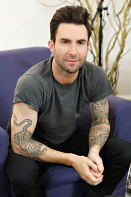 Adam Levine poses after being interviewed by Danielle Monaro of 'Elvis Duran and the Morning Show' at The Mercer Hotel on February 15, 2013 in New York City