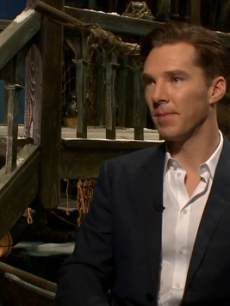 Benedict Cumberbatch sits in a makeshift Lake Town to discuss playing the dragon in 'The Hobbit: The Desolation of Smaug' with Access Hollywood, Dec. 3, 2013