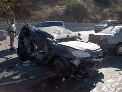 The aftermath of the car crash involving Brandy