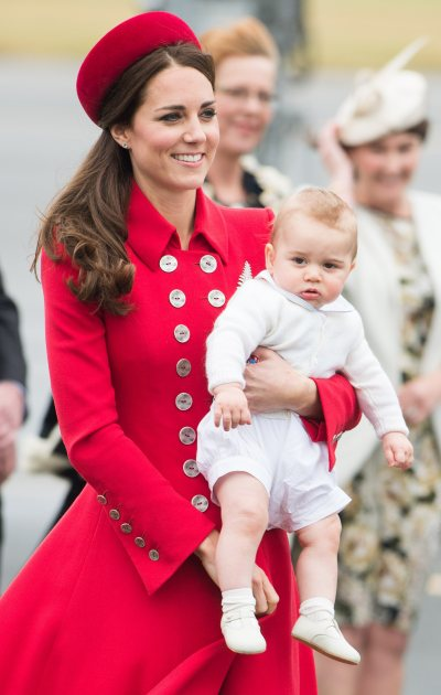 Catherine, Duchess of Cambridge and Prince George arrive at Wellington Airport's military terminal for the start of their tour on April 7, 2014 in Wellington, New Zealand. (Getty Images)