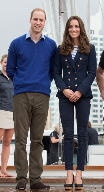 Prince William, Duke of Cambridge and Catherine, Duchess of Cambridge pose ahead of going sailing during their visit to Auckland Harbour on April 11, 2014 in Auckland, New Zealand (Wireimage)