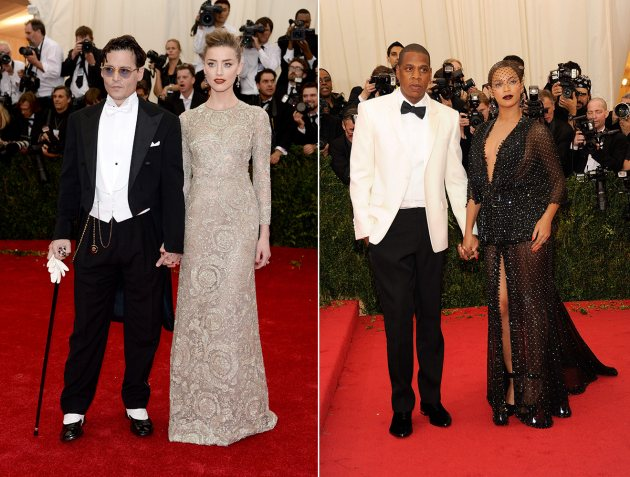 2014 Met Gala - Johnny Depp and Amber Heard/Jay Z and Beyonce (Getty)