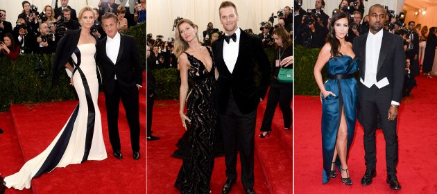 2014 Met Gala - Charlie Theron and Sean Penn/Gisele Bundchen and Tom Brady/Kim Kardashian and Kanye West (Getty)