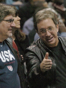 Tim Allen and Ric Messina catch the Hawks-Lakers game in Atlanta