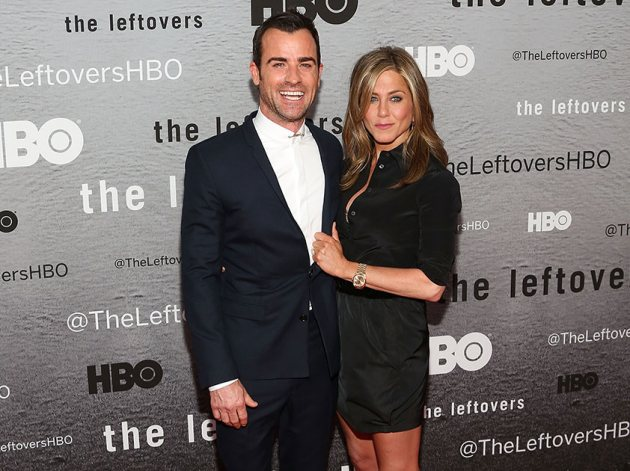 Justin Theroux and Jennifer Aniston on June 23, 2014 in New York City (Getty)