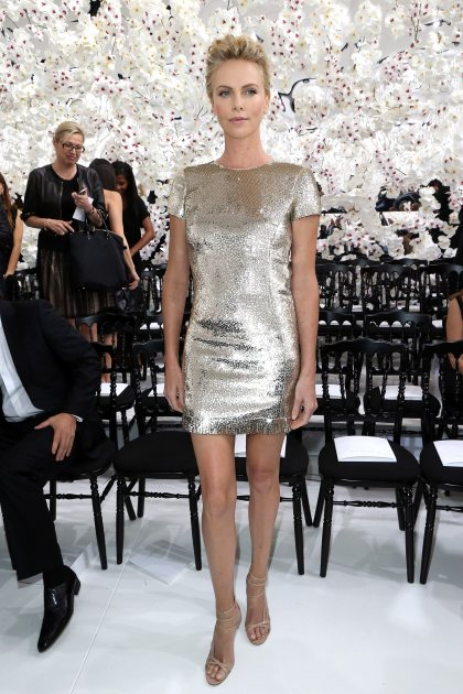 Charlize Theron is seen at the Christian Dior 2014/2015 Haute Couture Fall-Winter collection fashion show on July 7, 2014 in Paris (Getty)