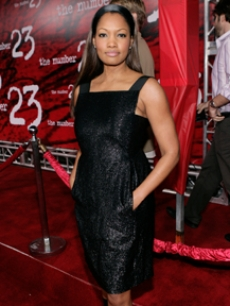 Garcelle Beauvais-Nilon in a sparkly black dress at the movie premiere