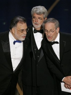 Coppola, Lucas and Speilberg present Best Director to Martin Scorsese