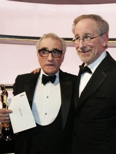 Martin Scorsese is joined by Steven Spielberg as he picks up his Oscar
