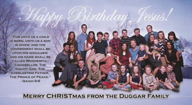 Happy Birthday Jesus Message ~ Duggar family christmas card is actually birthday card u for jesus