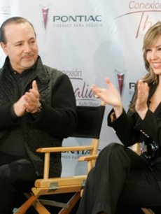 Thalia and hubby Tommy Mottola announce her new radio show in NY