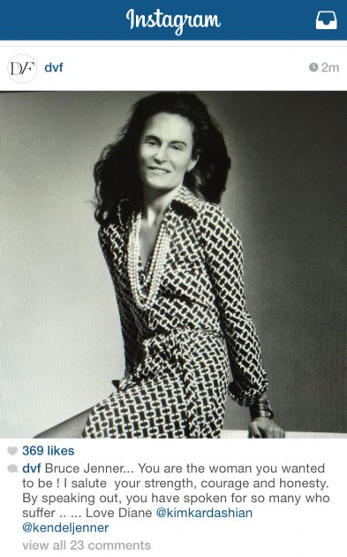 Bruce Jenner's face in an Instagram photo over Diane von Furstenberg's body