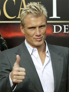 While Dolph Lundgren shows off his Spanish language film at a premiere