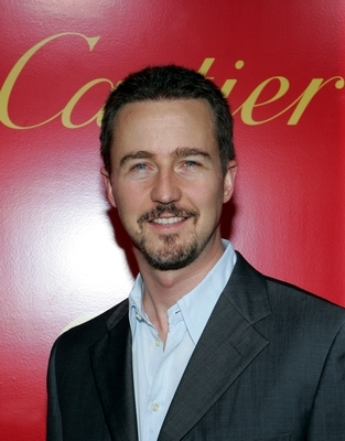 Edward Norton arrives at the cocktail party