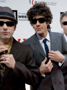 Beastie Boys arrive to accept the Webby Artists of the Year in NY
