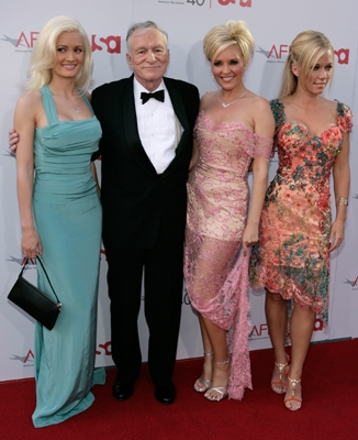Hugh Hefner & gals Holly, Bridget & Kendra at the AFI Pacino event