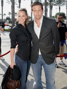 Jennifer and her fiance Ross McCall attend a Galaxy game, 2007