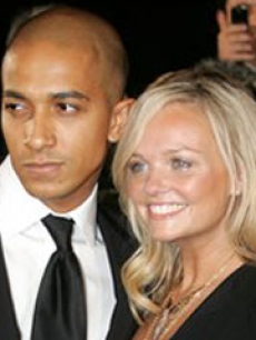 Emma Bunton poses with her boyfriend Jade Jones