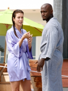 Kate Walsh and Taye Diggs on the set of 'Private Practice'