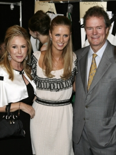 Kathy & Rick Hilton w/daughter Nicky at the Nicholai show in New York