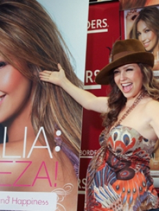 Pregnant latin singing star Thalia unveils her new book in New York