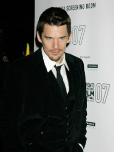 Her co-star Ethan Hawke arrives for the film premiere