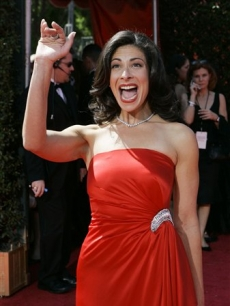 Stacy London wore a red dress