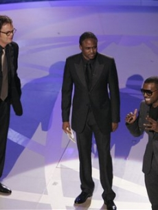 On stage at the Emmys with Rainn Wilson & Wayne Brady