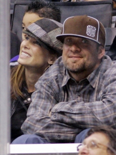 Sandra Bullock & Jesse James at the Anaheim Ducks hockey game