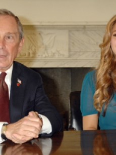 Shakira and NYC Mayor Michael Bloomberg at city hall