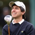 Funnyman Ray Romano watches his ball at the golf championship