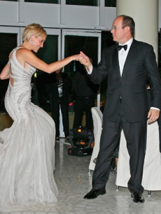 Sharon Stone is escorted by Prince Albert in Monaco