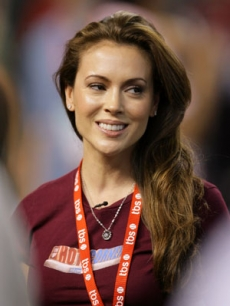 Alyssa Milano at baseball's National League Championship Series