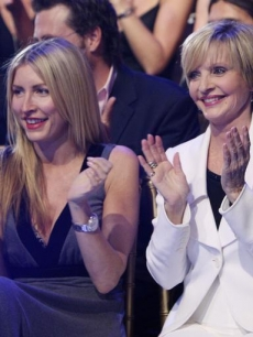 Heather Mills and Florence Henderson cheer on the dancers