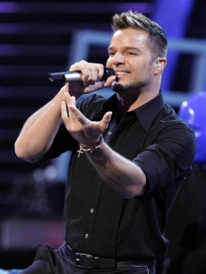 Ricky Martin sings on stage