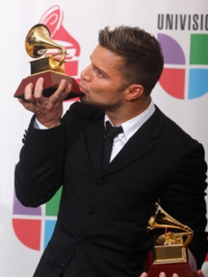 Ricky Martin with his two Latin Grammy awards in Las Vegas