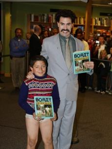 Sacha Baron Cohen with a young Borat look-a-like fan in LA!